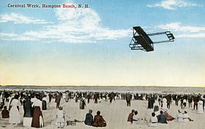 Biplane at Carnival Week, Hampton Beach. Postcard, Hampton Historical Society.