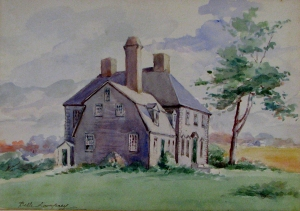 Moulton house, c. 1900 watercolor by Isabella S. Lamprey. Hampton Historical Society.