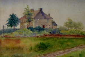 Moulton house, c. 1900 watercolor by Caroline Cutler. Hampton Historical Society.