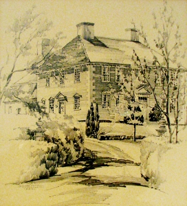 Moulton House sketch by Cornelia Schoolcraft, 1938. Hampton Historical Society.