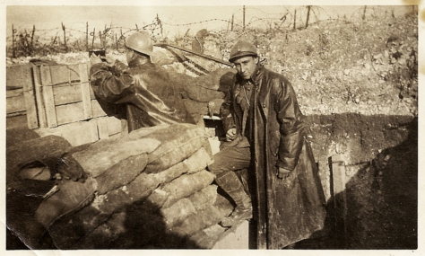 """70 yards from the German trenches."" Rupert Lindsey in the French trenches, Champagne-Ardennes, October 1917."