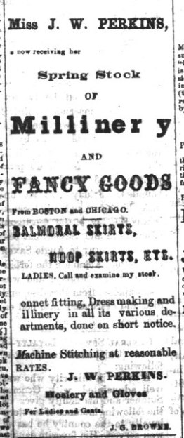 Jennie's advertisement in the Polo Il Press, May 16, 1863. Courtesy Oklahoma Historical Society.