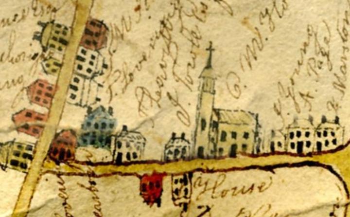 c. 1830 Hampton map, showing meeting house.